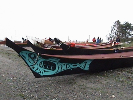 Canoes on beach at Port Townsend 2003. Photo by NW Native Media / Sue Charles