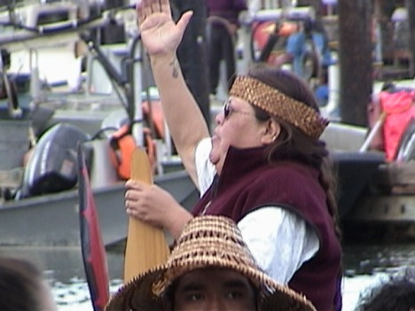Connie McCloud announces Puyallup Canoe 2001