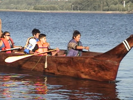 Youth paddleing canoe for Journey 2005