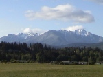 "Olympic Mt.s From Lower Elwha, with ""Sleeping Giants"" mountians"