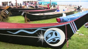 Canoes on land at Suquamish Tribe hosting events. Photo.. Copyright 2009 Sue Charles/NW Native Media