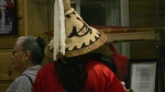 Traditional fibers woven hat at Suquamish 2009.